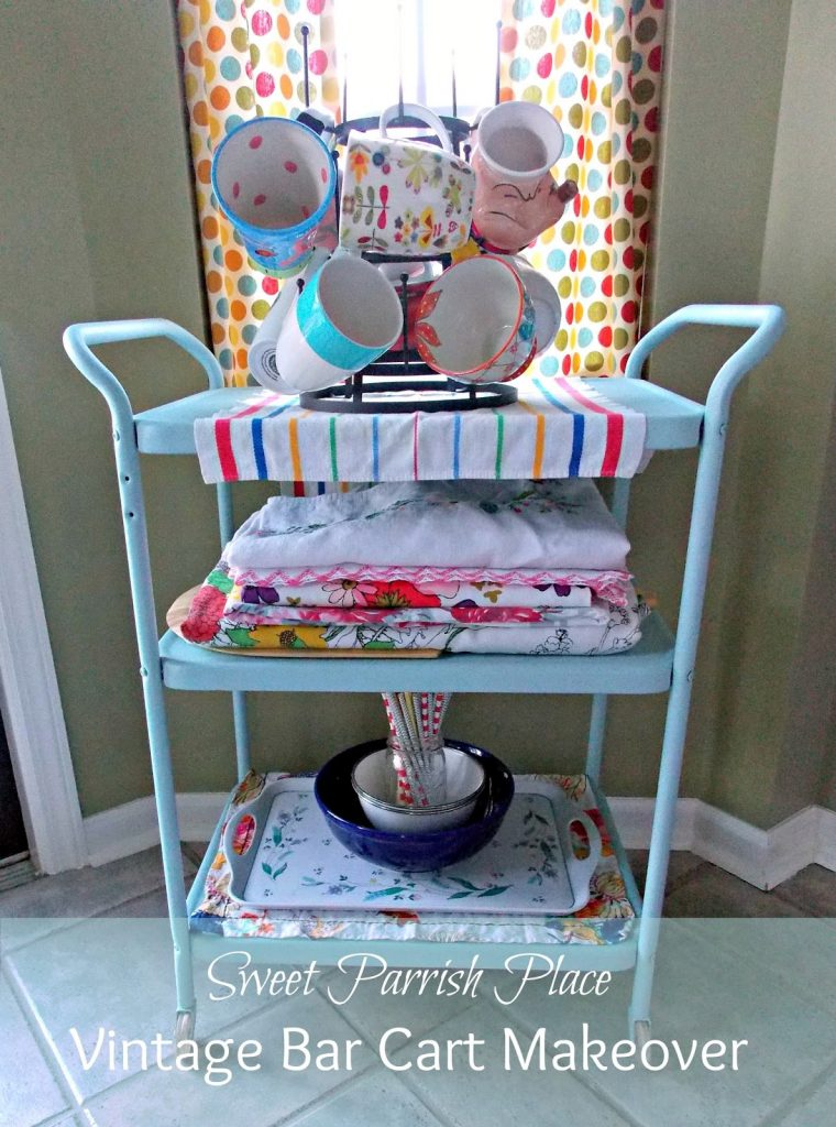 Trashtastic Tuesday Vintage Bar Cart Makeover Sweet Parrish Place