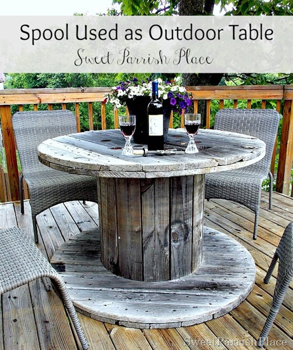 Wooden Spool As Patio Table Back Deck Tour Sweet