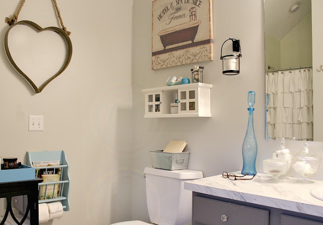 Painted master bathroom- gray owl