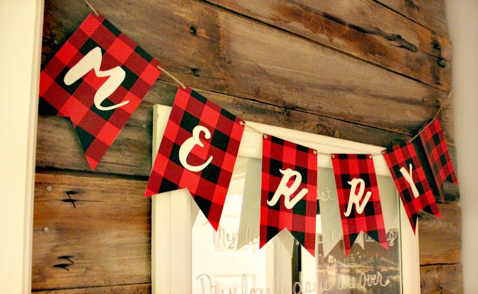 Merry Plaid Christmas Banner