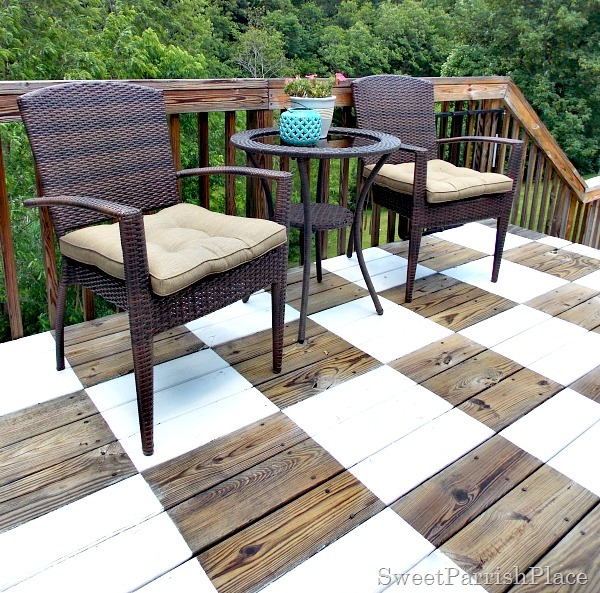 Checkerboard painted deck