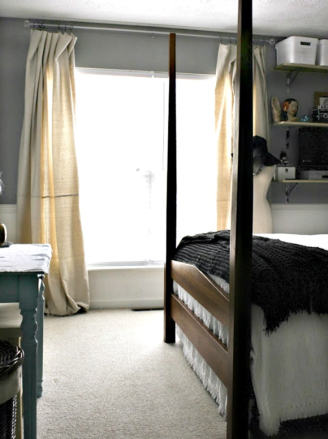 Bedroom Progress- DIY Shelves, Drop Cloth Curtains