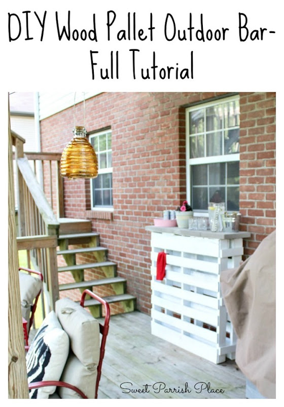 diy pallet patio bar. I Am Super Excited To Share My Wood Pallet Bar That Made For Our Back Deck With You Today! LC Helped Me Make This A Few Weeks Ago, Diy Patio