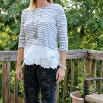 Late Summer/Early Fall Fashion- Everly Striped Lace Top