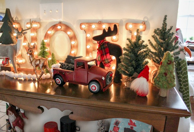 Christmas Tree Farm decor in the living room