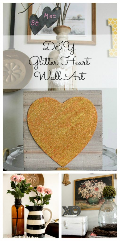 DIY glitter heart wall art- DIY Valentines Day decor