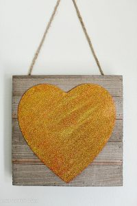 DIY Glitter Heart Wall Art Valentines Day Decor