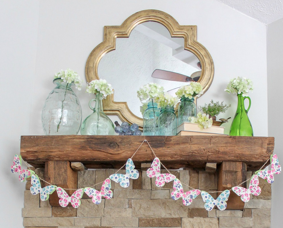 fresh cheerful spring mantel