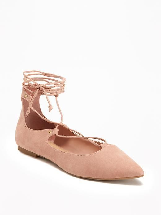 Sueded Ghillie Lace-Up Flats for Women