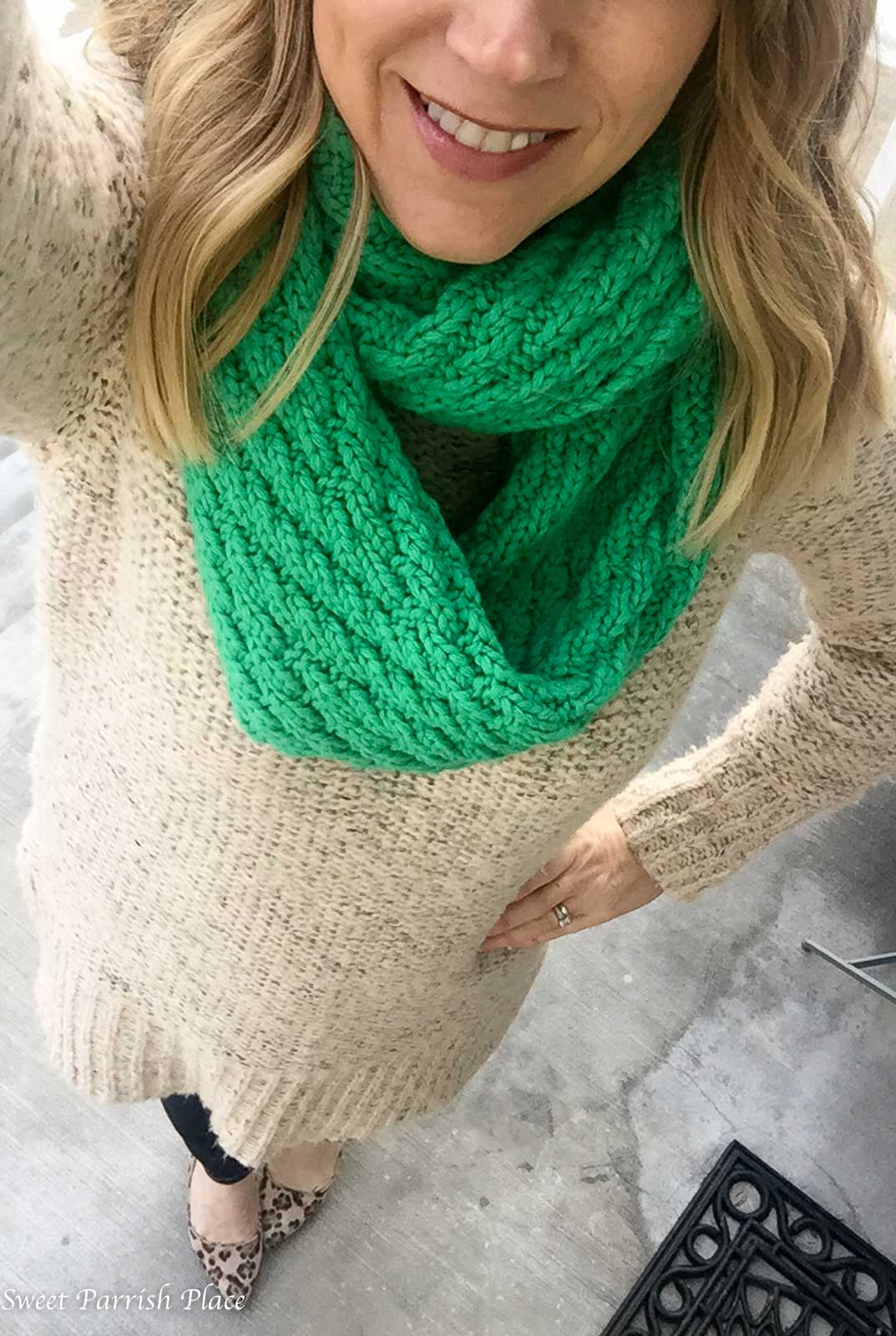 Chunky sweater outfit- Sweet Parrish Style