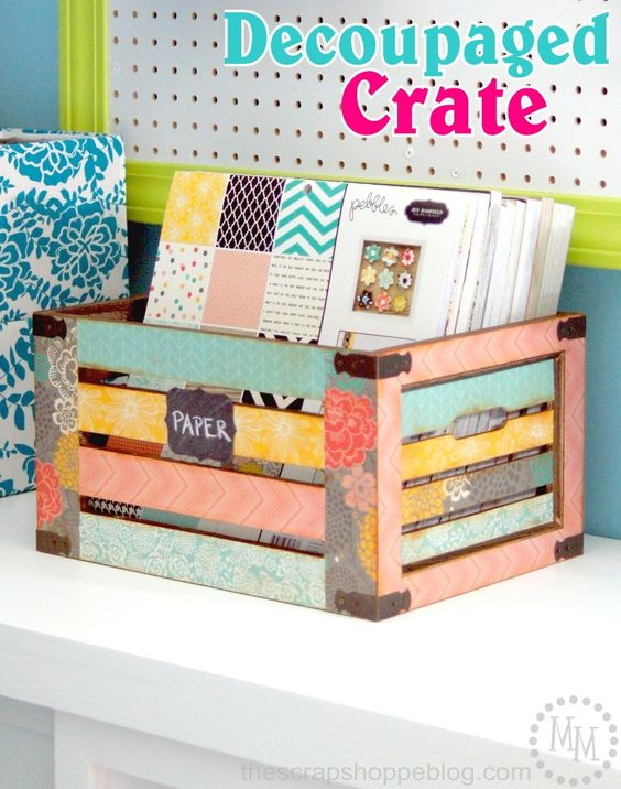 DIY decoupaged crate-Totally Terrific Tuesday #126 weekly favorite