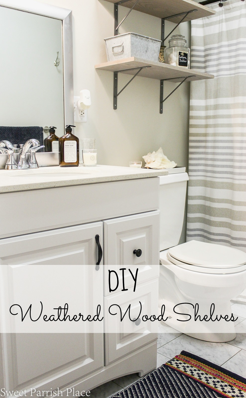 DIY weathered wood shelves