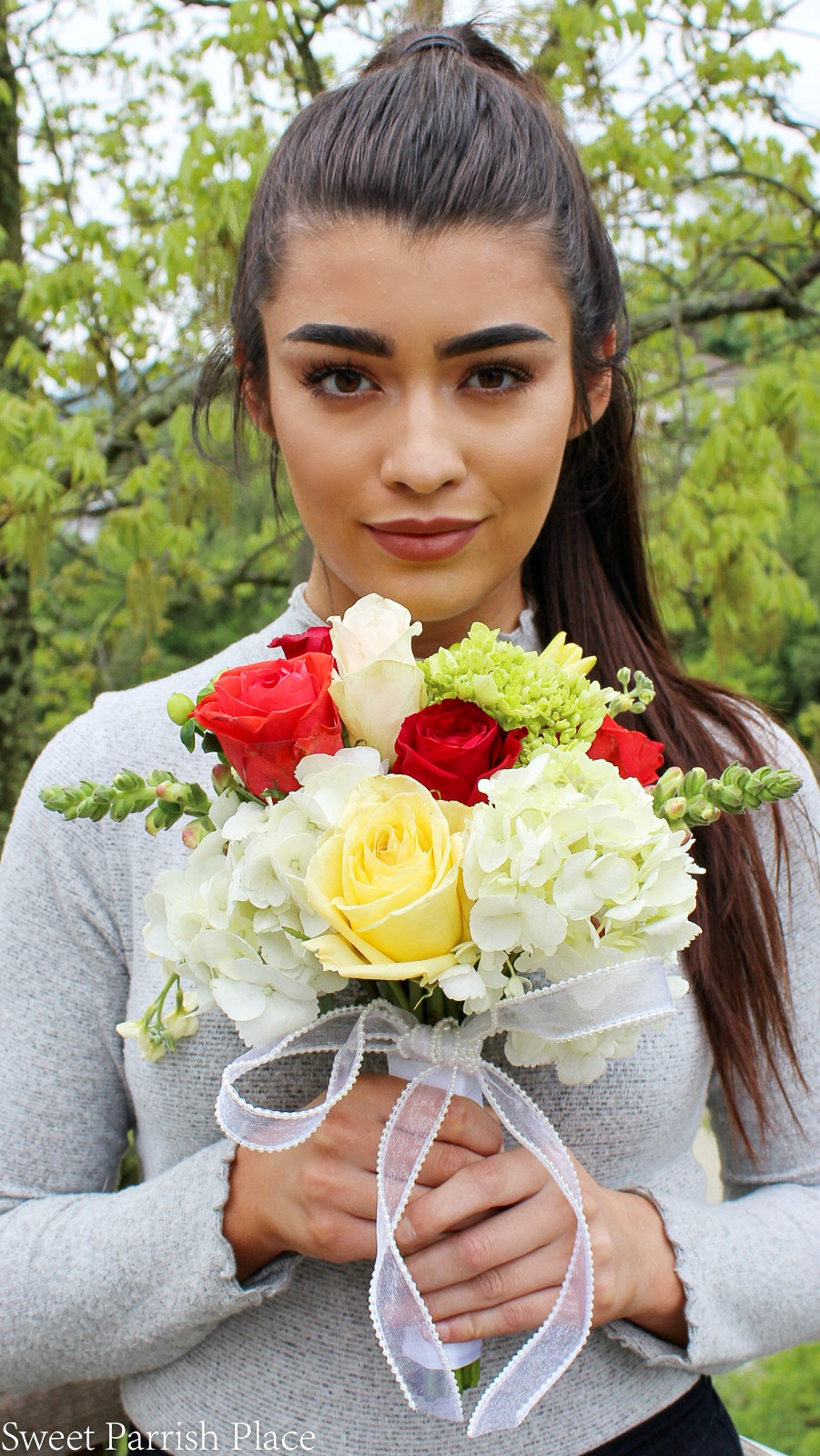 Diy prom bouquet sweet parrish place we didnt let the bouquet get too large because its not her wedding day its prom and it looked so great with her red dress i knew what the dress looked izmirmasajfo