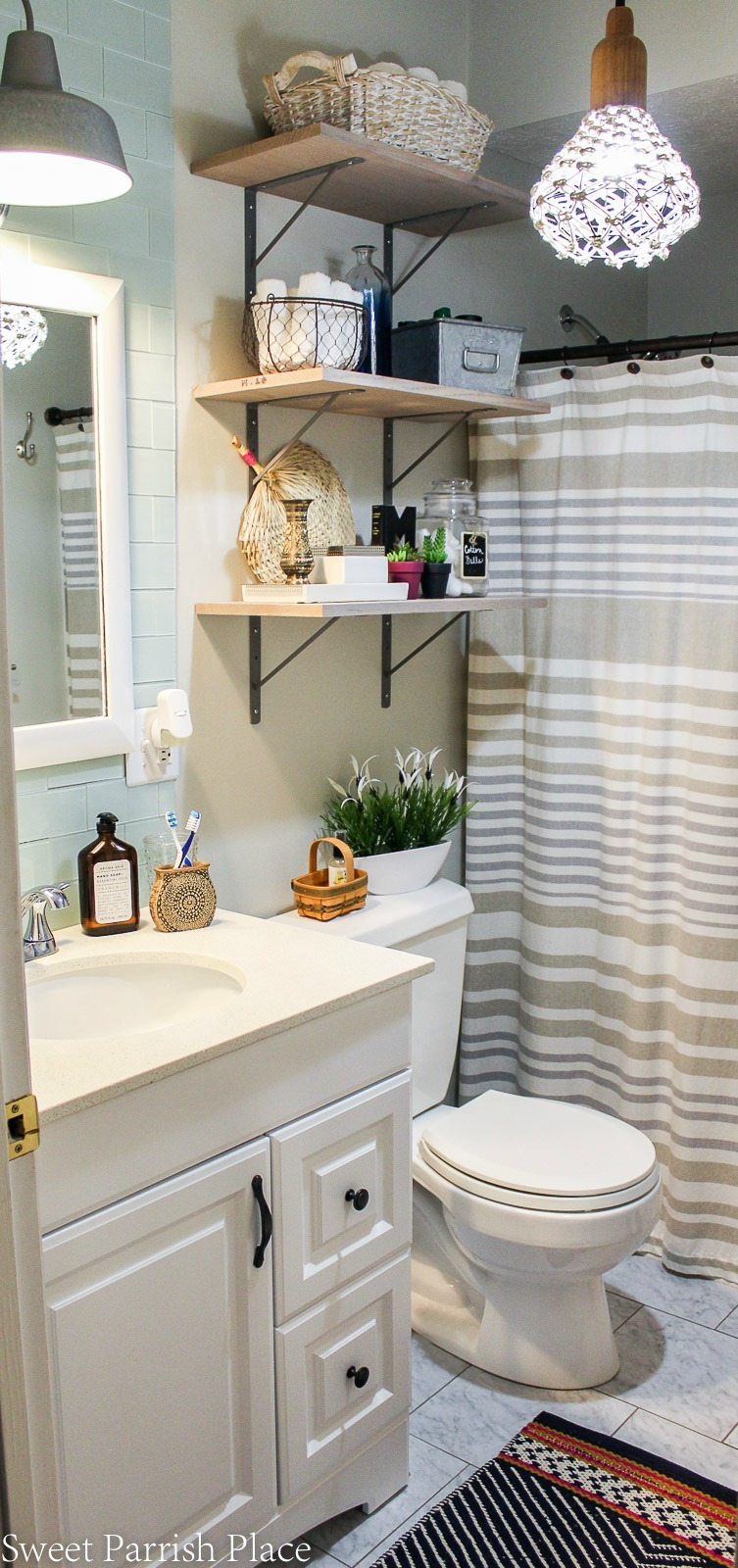 Boho eclectic bathroom reveal