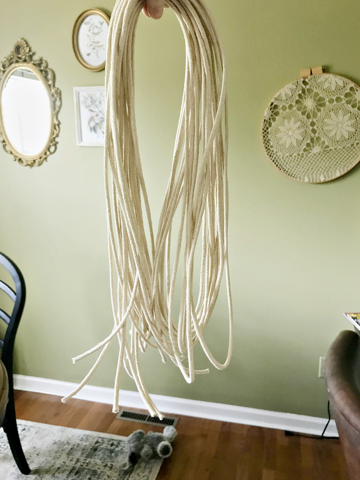 DIY macrame pendant light