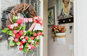 DIY Strawberry Wreath for Sweet Summer Time