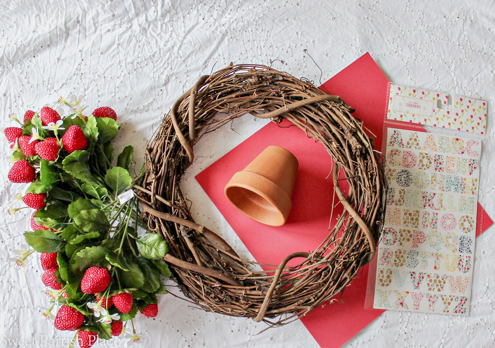 DIY Strawberry Wreath