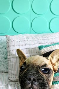 I made this adorable DIY headboard, using 3d wall panels, for my son's bedroom.