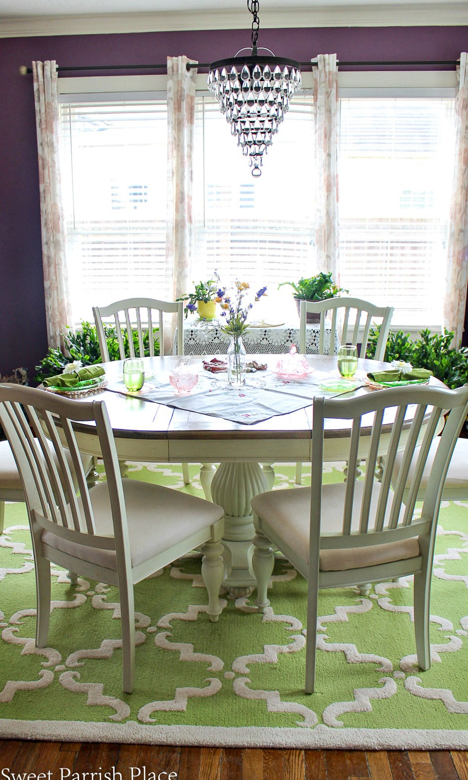 97 year old home tour- purple and green dining room