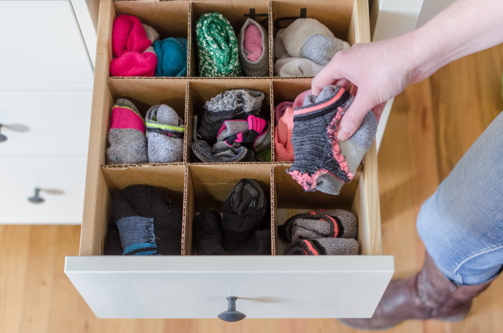 cardboard boxes as drawer organizers