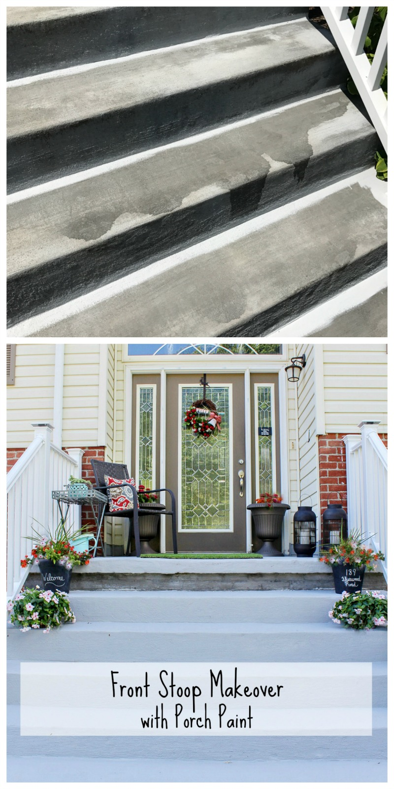 Over the summer, we did a little front stoop makeover with porch paint, and it completely transformed the look of our front stoop!