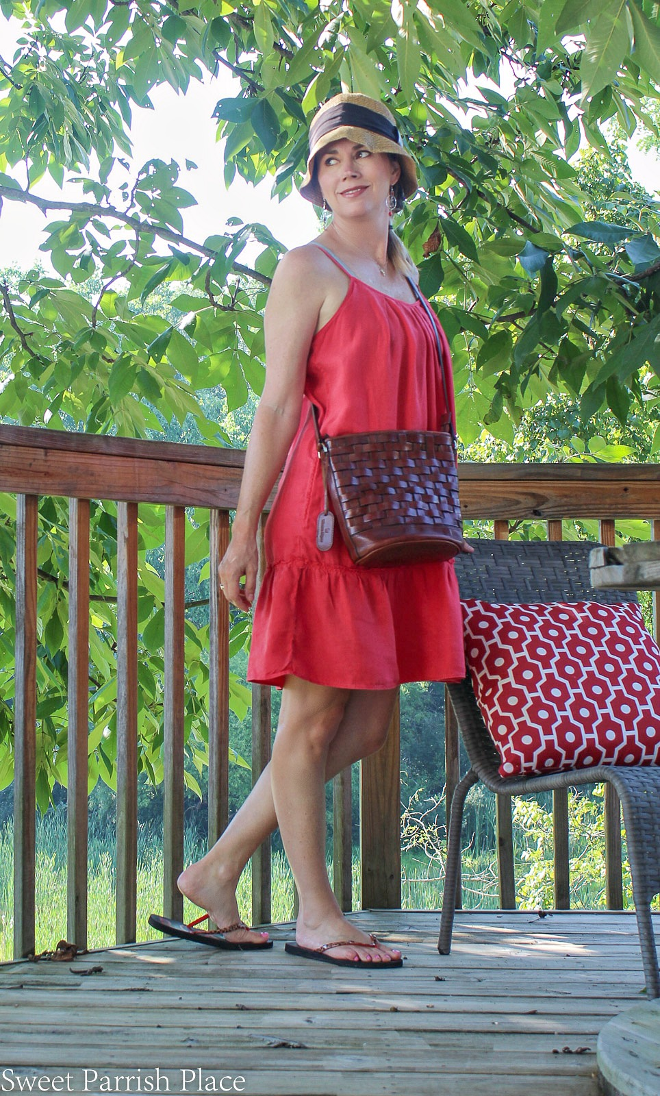 casual red sundress