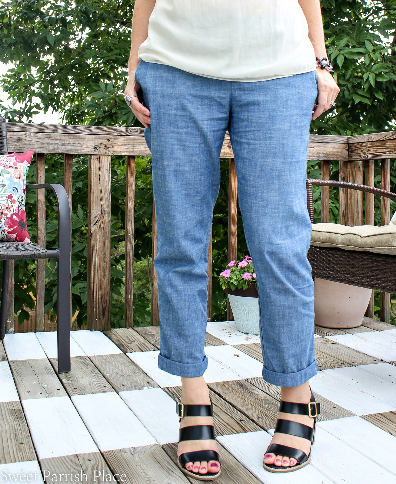 strappy black sandals and chambray chinos