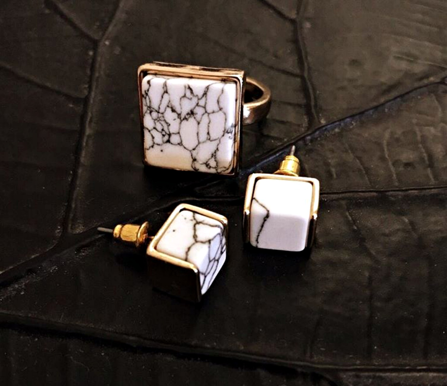 marble ring and earrings