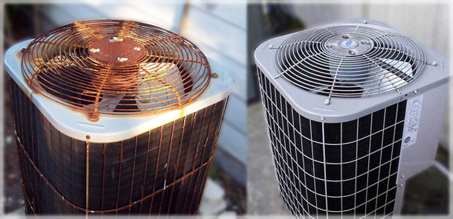 old v. new air conditioning unit