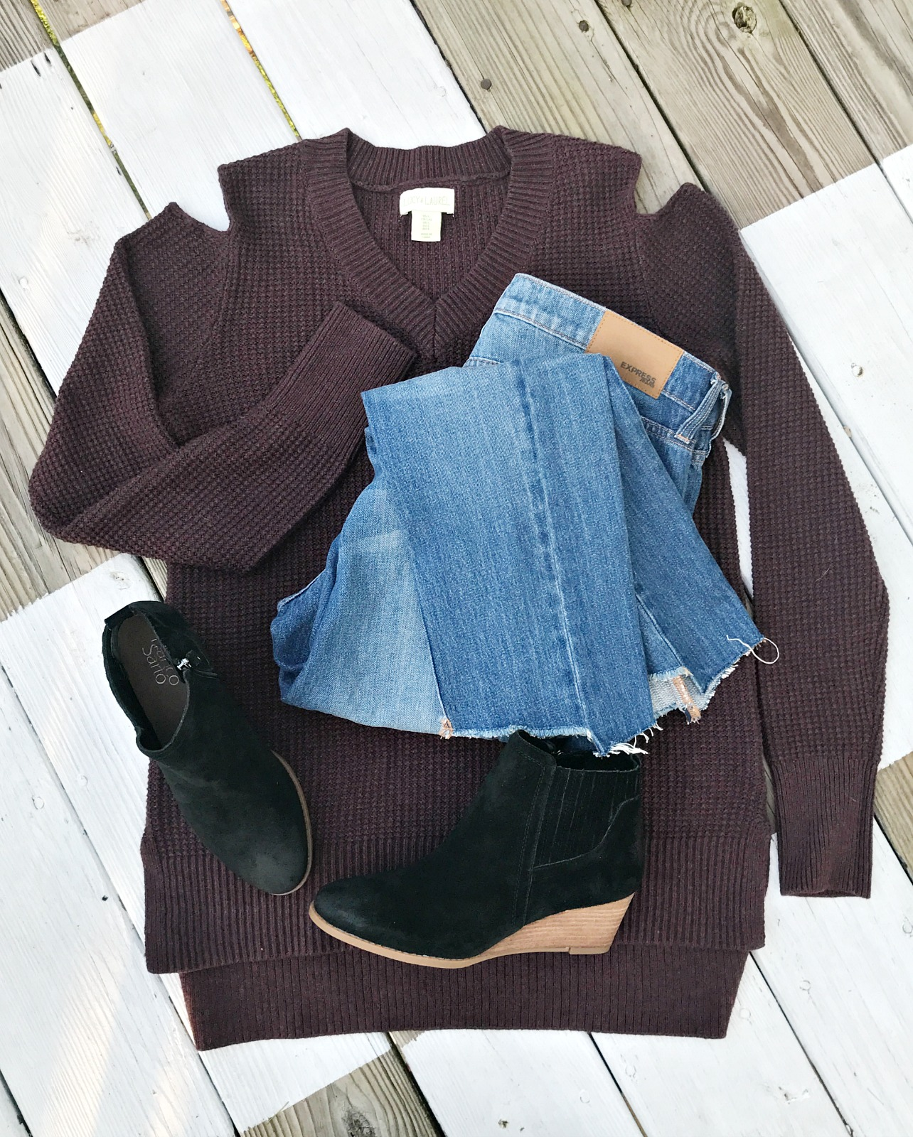 cold shoulder sweater jeans booties