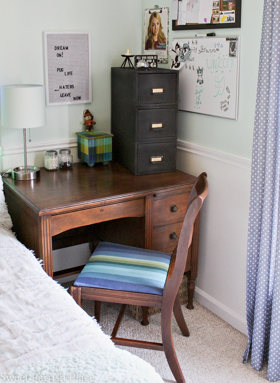 boys desk and file cabinet