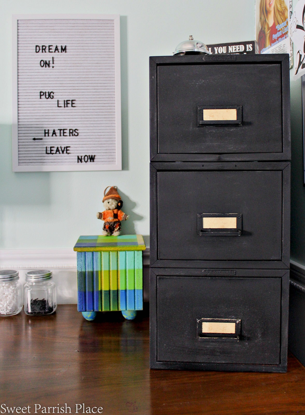 Itu0027s Week Three Of The One Room Challenge, And Today I Am Sharing My Modern  Rustic File Cabinet Makeover And A Vintage Desk That I Added To My Sonu0027s  Bedroom ...