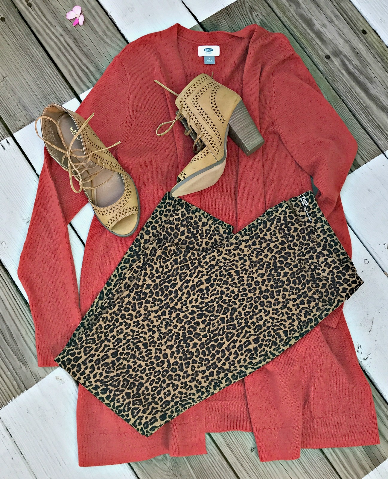 leopard pixie pants, long cardigan