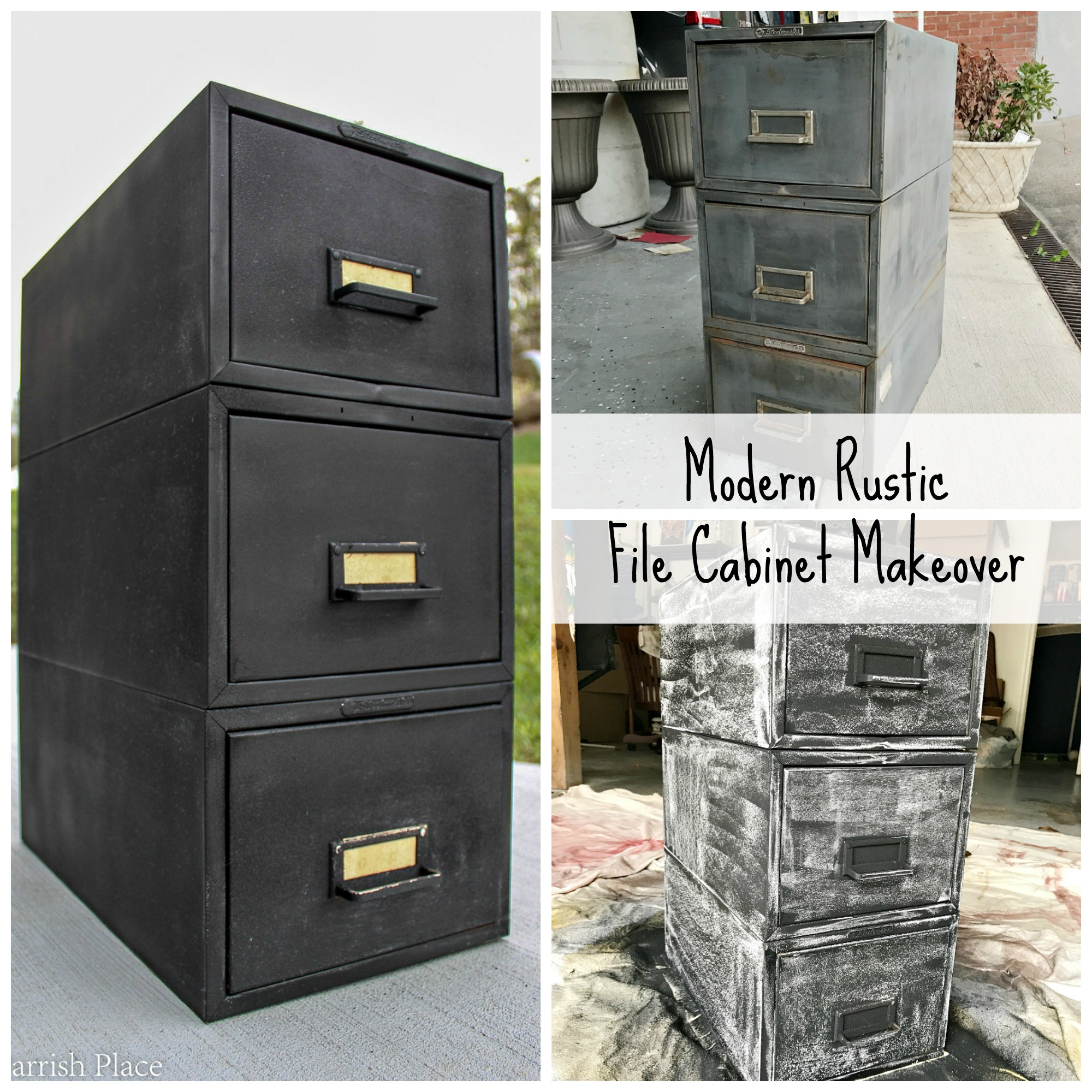 trash to treasure- modern rustic file cabinet makeover using chalkboard paint.