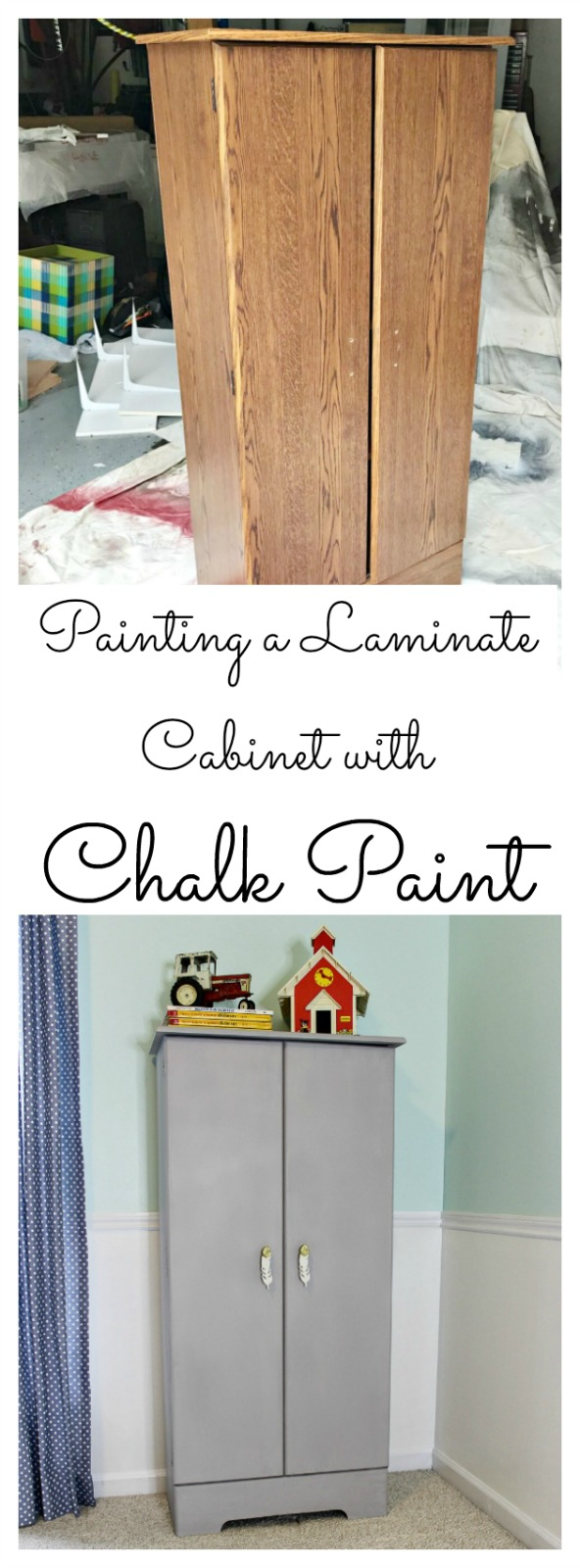 this is my experience painting a laminate cabinet with chalked spray paint