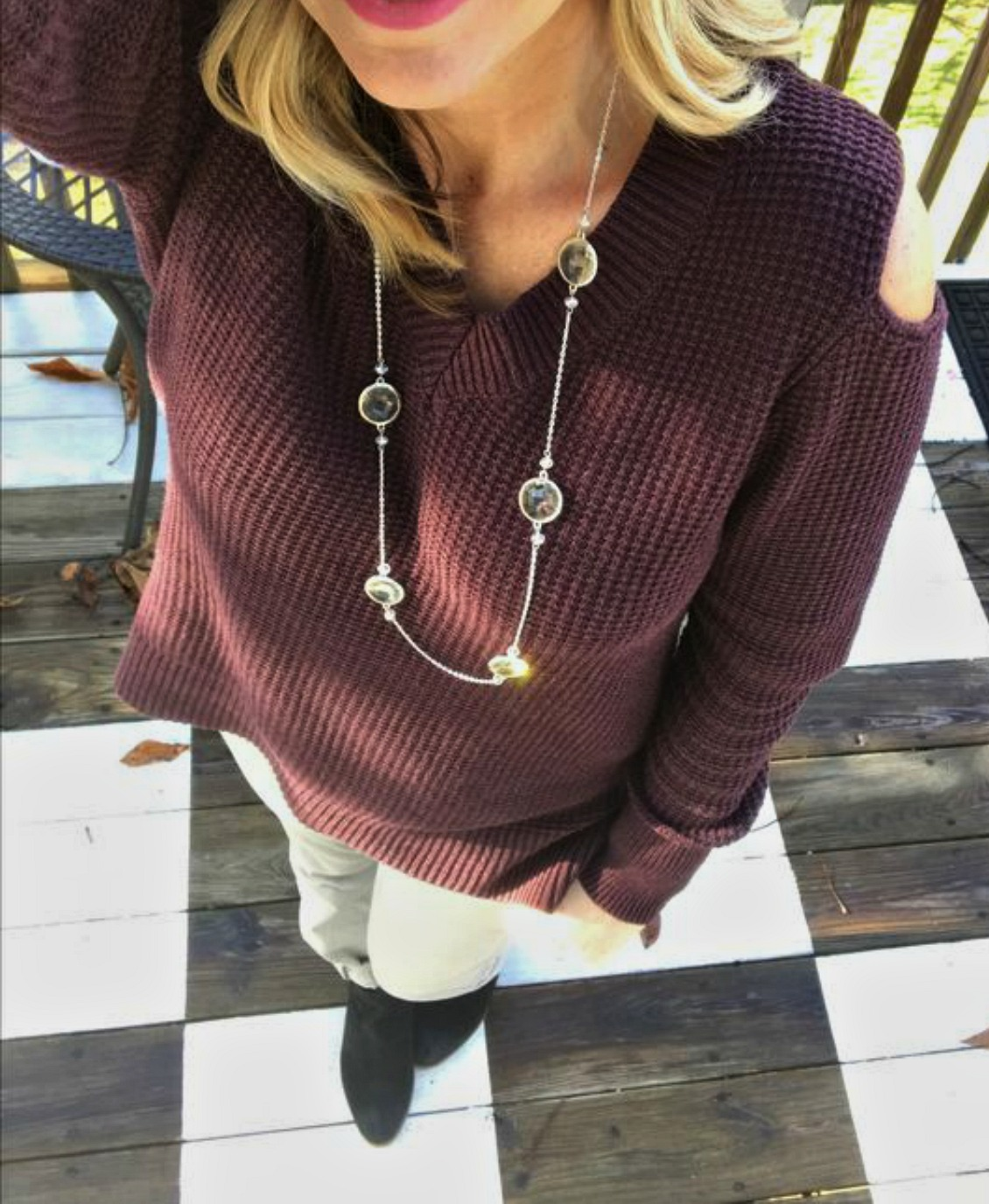 cold shoulder sweater outfit 1