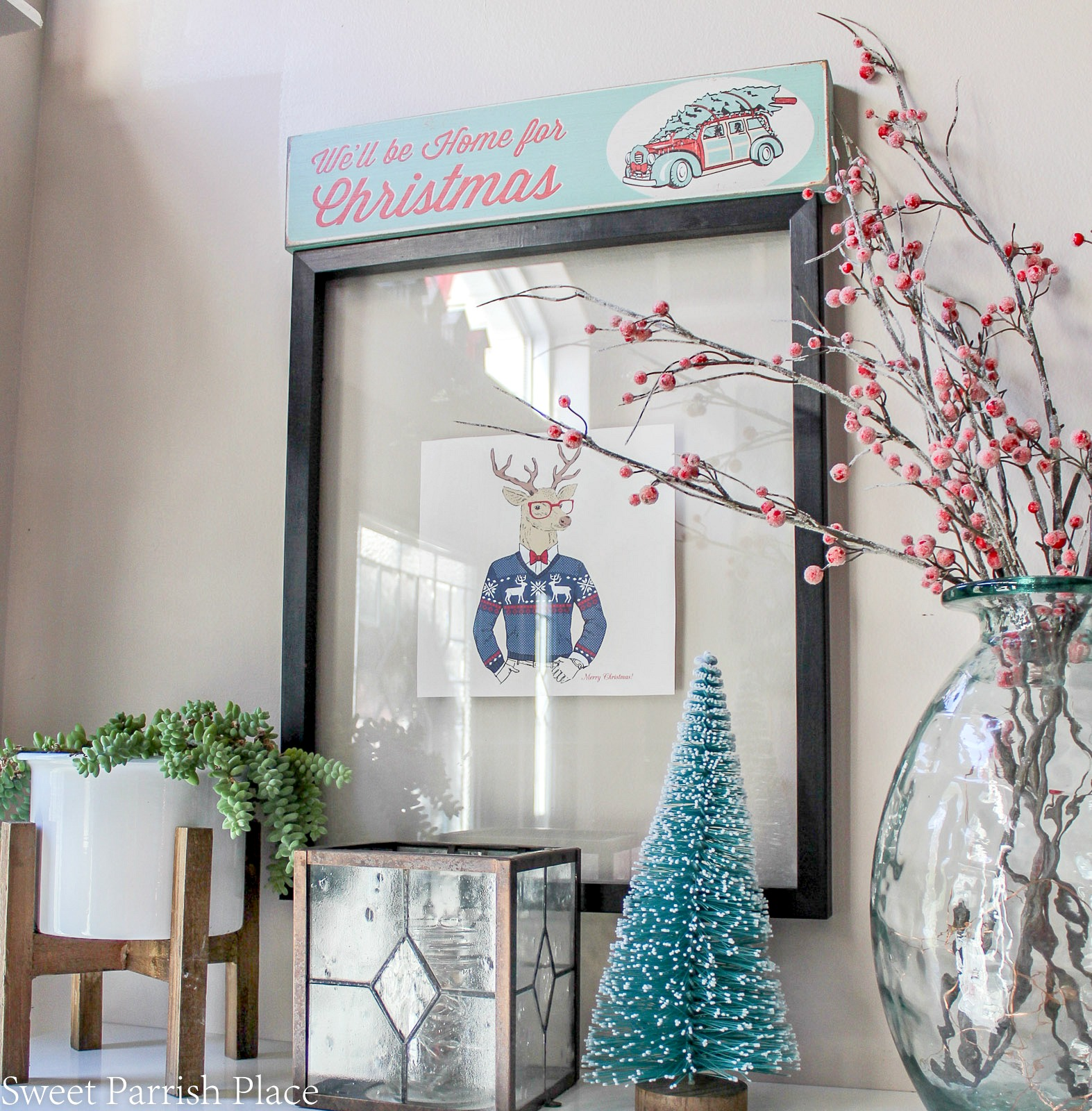 This is part two of my Christmas Home tour, my boho chic Christmas entryway.