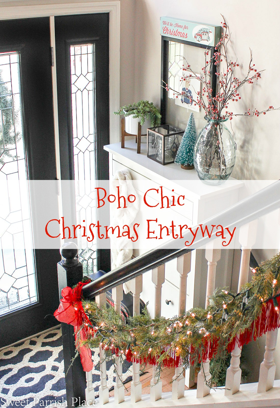 boho chic Christmas entryway