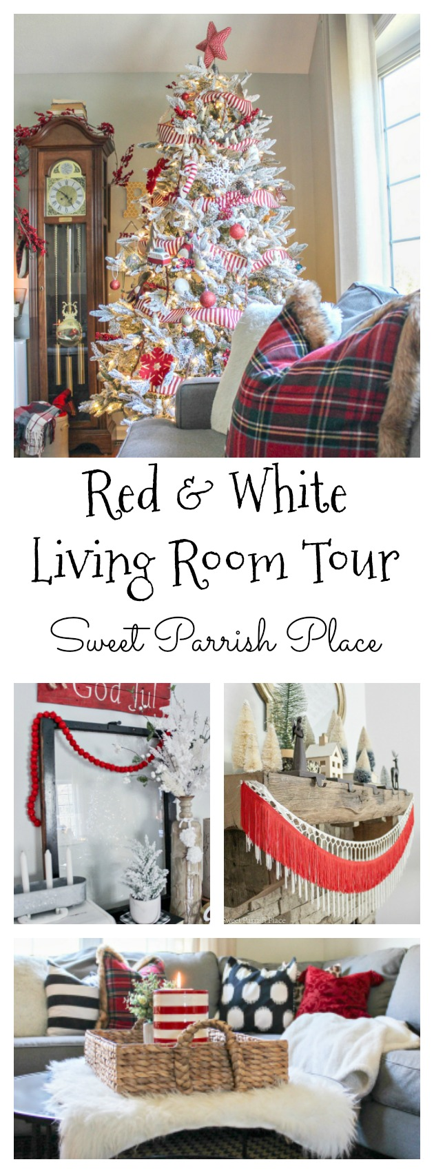 Welcome to my Red and White Christmas Living Room that I'm sharing today as part of the Christmas Tour Of Homes.