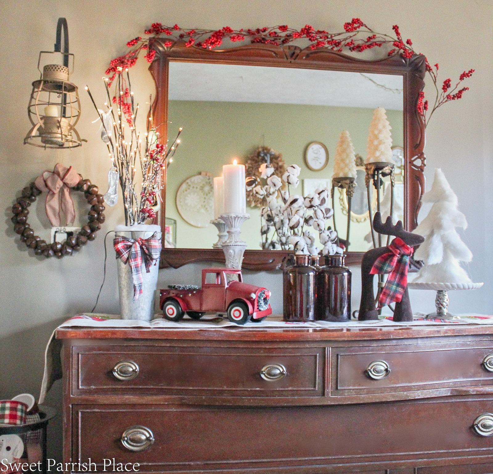 Buffet decorated for Christmas