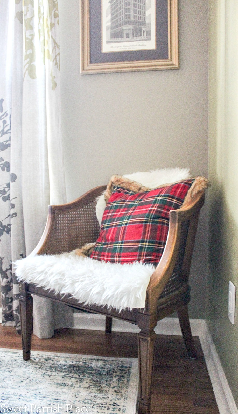 plaid and faux fur Christmas pillow