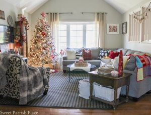 Red & White Christmas Living Room | Christmas Tour of Homes