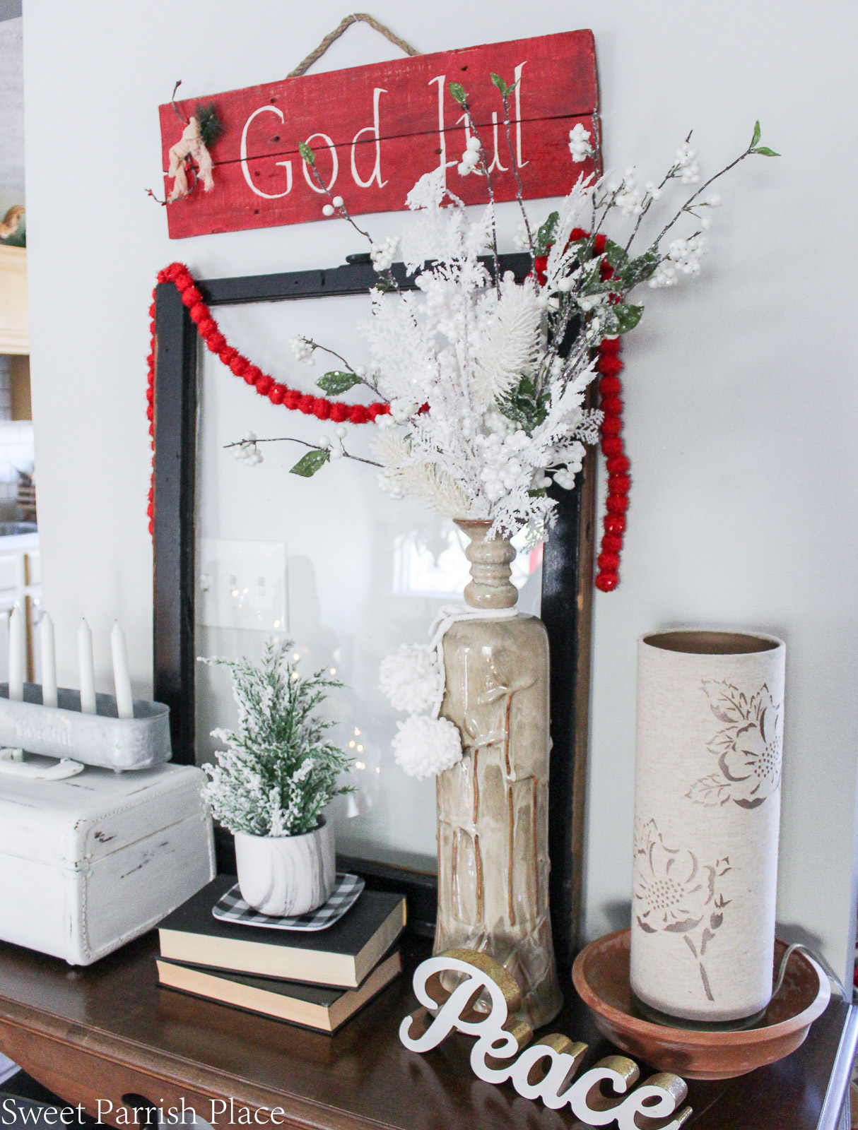 red and white Christmas living room-20
