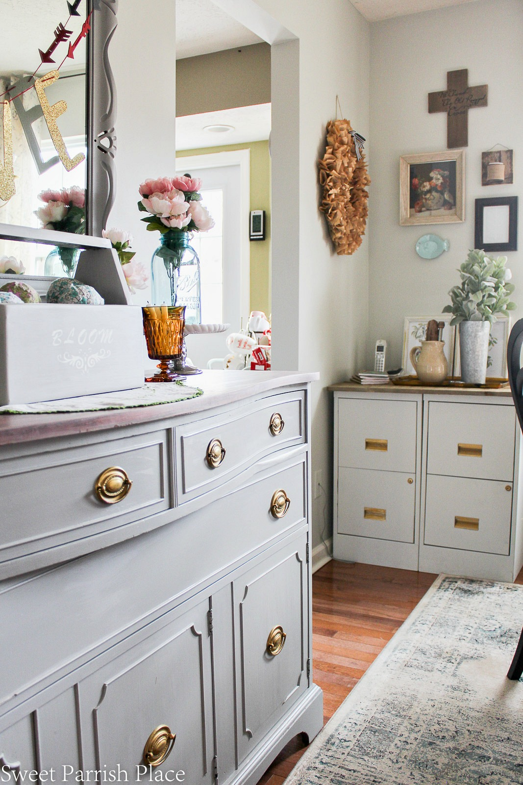 DIY metal file cabinet makeover with rustic wood top