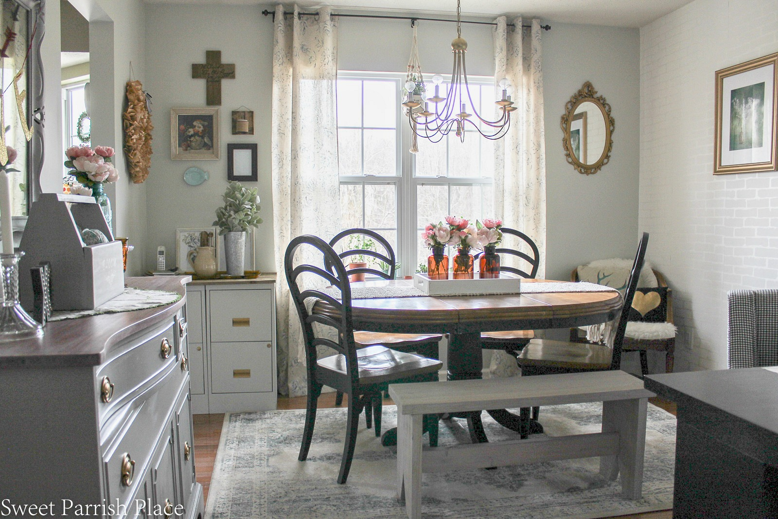 modern farmhouse dining room office reveal 100 room challenge sweet parrish place. Black Bedroom Furniture Sets. Home Design Ideas