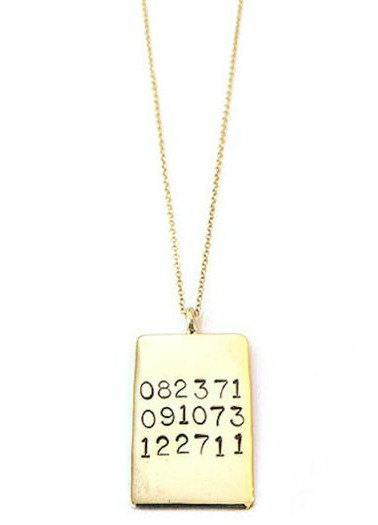 hand stamped dates necklace