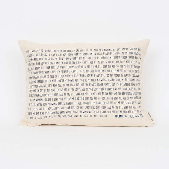 song lyric pillow