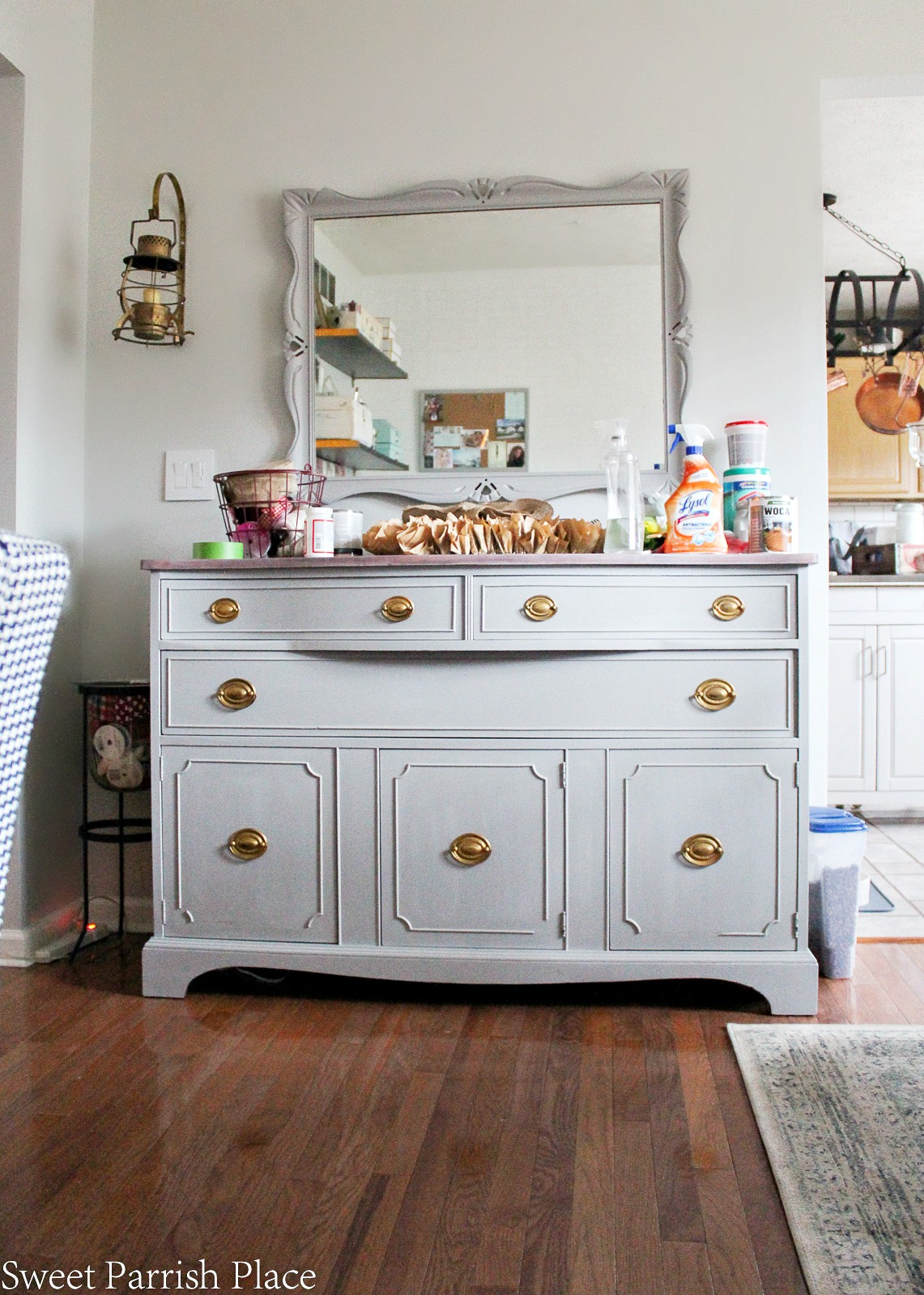It's Week four of the $100 Room Challenge and I'm sharing my DIY painted Buffet and mirror.
