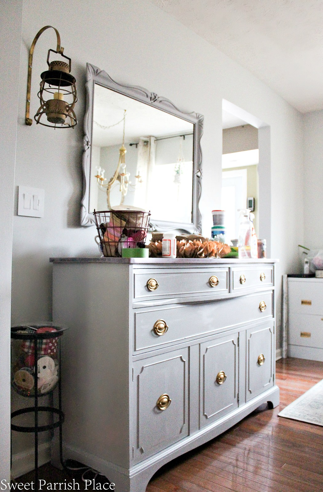 painted buffet and mirror