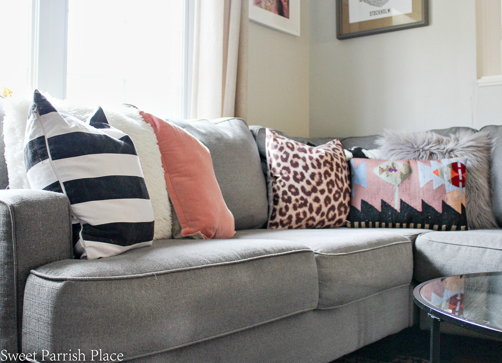 spring sofa with pillows